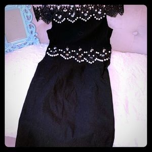Dresses & Skirts - Strapless lace dress with crystals and pearls